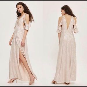 NEW Topshop Metallic Ruffle Maxi Dress